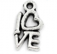 10 x Antique Silver LOVE Charm Pendants